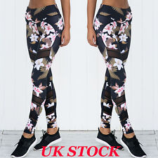 UK Women Yoga Pants Fitness Leggings Running Gym Exercise Sports Floral Trousers
