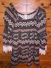 R Rouge XXXL Native Southwestern Print With Lace Edged 3/4 Bell Sleeves Top