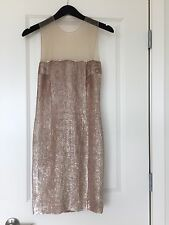 KAUFMANFRANCO 021 S/S 2013 TAN SEQUIN MESH ILLUSION TOP + BACKLESS DRESS S/XS