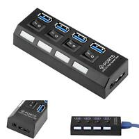 LED 4 Port USB3.0 Hub High Speed Power On/Off Button Switch for Laptop PC Mac TR