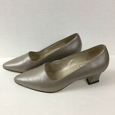 Mixed Blues Vtg Pewter Gray Tapered Block Heel Pump Pointy Toe Leather Size 7