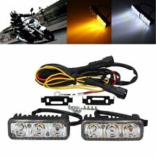 2x 6 LED 12V High Power Car White DRL & Amber Signal Turn Daytime Running Light