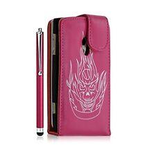Housse étui coque pour Sony Ericsson Xperia X10 motif tete de mort couleur rose