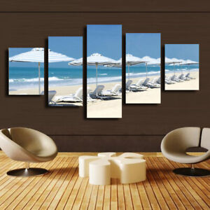 5 Pieces Canvas Wall Art Poster and Print Living Room Seascape No Framed