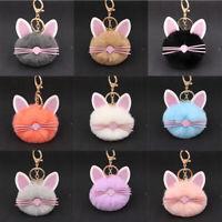 NEW Cute Pom-Pom Cat Keychain Bag Charm Fluffy Puff Ball Key Ring Car Pendant