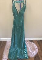 Emerald Beaded Green SCALA Dress/ Gown Size Large Excellent condition Authentic!