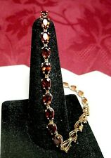 "14K ROSE GOLD PEAR SHAPE GARNET LINK TENNIS BRACELET 8"" LONG"