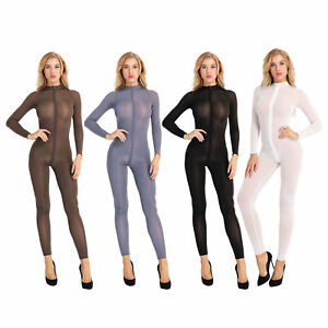 Women's Transparent Double Zipper Catsuit Jumpsuit Long Sleeve Bodysuit Clubwear