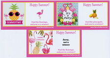 10 Flamingo and Pineapple or Luau party favors scratch-off tickets personalized