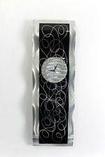 Wall Clock - Functional Wall Art Decor - Modern Silver + Black Clock Sculpture