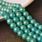 New 15pcs 10mm Round Gold Dust Glass Charms Loose Spacer Beads Lake Green