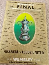 CENTENARY YEAR - FA CUP FINAL 1972 programme. ARSENAL v LEEDS UNITED May 6, 1972
