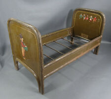ANTIQUE GERMAN DOLL HOUSE BABY CHILD TIN IRON BED TOY DUTCH FOLK COSTUME SCENIC