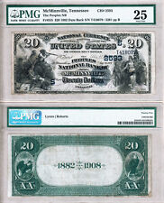 Finest of 2 known: 1882 DB $20 Peoples NB of McMinnville TN. Fr.555 CH#2593 VF25
