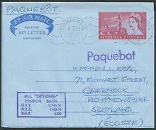 GB SWEDEN 1965 6d airletter STOCKHOLM PAQUEBOT, MS Devonia ship cachet.....39931