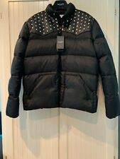Saint Laurent Down Jacket with Studded Leather Yoke in Black, L