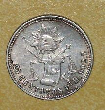 1885PiH MEXCAN REVOLUTION 25CENTAVOS SAN LUIS POTOSI MEXICO RARE SILVER COIN 43K
