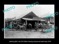 OLD LARGE HISTORIC PHOTO OF ALDERLEY QLD, THE ELDERS BLACKSMITH SHOP c1910