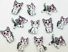 15 Wooden Cartoon Painted Cat Painted Buttons, Kids, Craft, Sewing BU1141