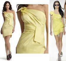 $350 Cynthia Steffe Campbell Drape One Shoulder Stretch Sateen Yellow Dress 10