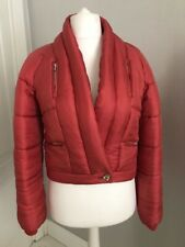 $9k!!! RARE CHANEL Red Silk Puffer Down Jacket Ski Coat Size 34 Paris Moscou