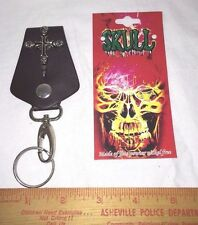 Mens Biker Faux Leather Silver Cross with Skulls Charm Clasp Hook Key Ring
