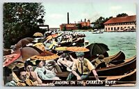 Boston MA~Canoeing on Charles River~Ladies w/ Paper Parasols~Boathouse~c1910