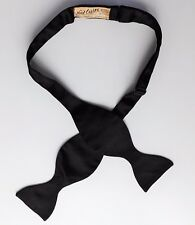 "NAT Wise Black Bow Tie Self Tie Taille 14 To 19"" tous soie Serrano Vintage American"