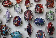 Wholesale Mixed Lots 20pcs Huge Natural stone Silver P Colorful Women rings