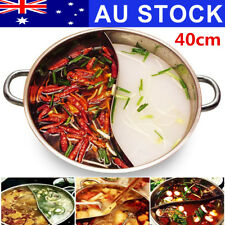 AU 40cm Stainless Steel Twin Duck Hot Pot Induction Shabu Hotpot Cooker Cookware