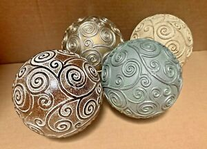 "4"" Decorative Orbs Set/4 Floral Balls Spheres Table Top Home Decor Accent"