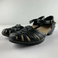 Clarks Bendables Wendy Land Women 10 M Black Woven Toe Ankle Strap Sandals 60552