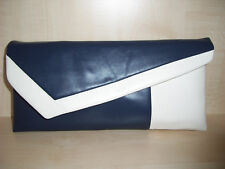 IVORY & NAVY BLUE asymmetrical faux leather clutch bag.  Handmade in the UK.