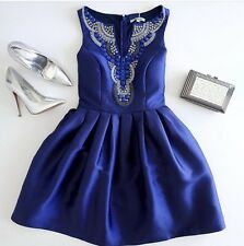 Lulus Heart Skips Beat Royal Blue Beaded Skater Dress Formal Wedding Guest S NWT