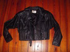 Vtg Black Leather Warehouse 80's Motorcycle Jacket Crop Biker Punk Goth Coat S/M