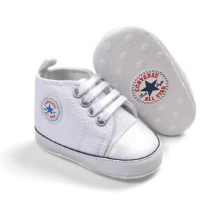 BABY PREWALKER SHOES TRAINERS WHITE  0-6 6-12 12-18 MONTHS CONVERSE