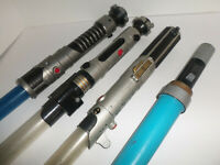 Vintage 1996-2010 Star Wars Hasbro Retractable Lightsabers White Blue Toy Lot