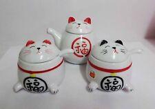 Brand New Ceramic Maneki Neko Lucky Cat Sugar Salt Sauce 3 pcs Saucer Set
