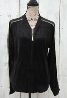 LAUREN RALPH LAUREN Women's Sz L NEW BLACK Zip Up Velvet Jacket $125