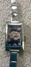LADIES WATCH WITH YELLOW ROSE DESIGN ON FACE FROM ARTWORK BY ART BY THREE
