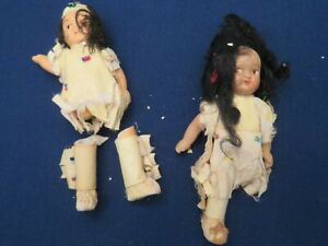 """2 VINTAGE OR ANTIQUE NATIVE 3 1/2"""" DOLLS FOR PARTS / REPAIR MALE & FEMALE BISQUE"""