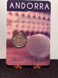 ANDORRA 2016 2 EURO COINCARD 25° ANNIVERSARIO RADIOTELEVISIONE ANDORRE