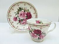 Royal Castle TEACUP & SAUCER Pink & Mauve Roses Fine Bone China England