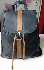 Tasche Rucksack Damen Rauchblau/Braun Karabinerverschluß