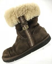 UGG Metro Tas Ankle Boots - Brown Suede Shearling Pull On Booties Women's Size 8