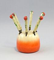99845552 Ceramica Obstbesteck-Garnitur in Apfel-Form Arte Deco