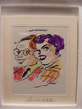 Vintage Caricature by Arthur/Two together/Man with glasses/Lady with purple hair