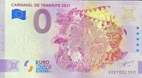 BILLET 0  EURO CARNAVAL DE TENEREFIE ESPAGNE ANNIVERSARY  2021 NUMERO DIVERS