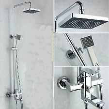 "Wall Mount 8"" Rain Shower Faucet Set Single Handle Hand Shower Mixer Tap Chrome"