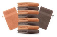 10er Pack Waschhandschuhe Premium Farbe: Orange & Nuss, Größe: 17x21 cm